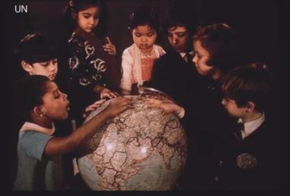 Children with globe 74